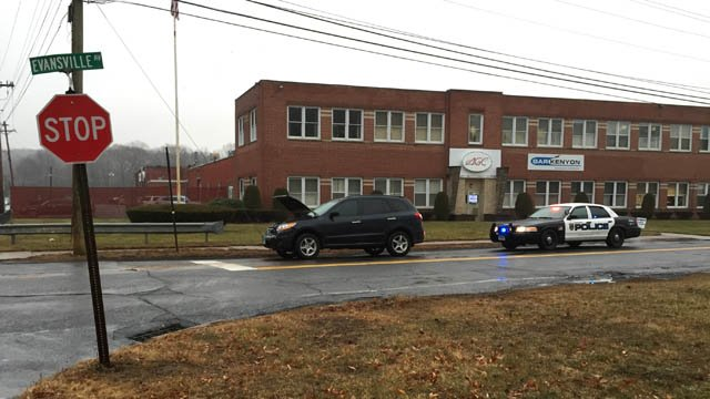 A car backed into a school bus on Evansville Avenue in Meriden, according to police. (WFSB photo)