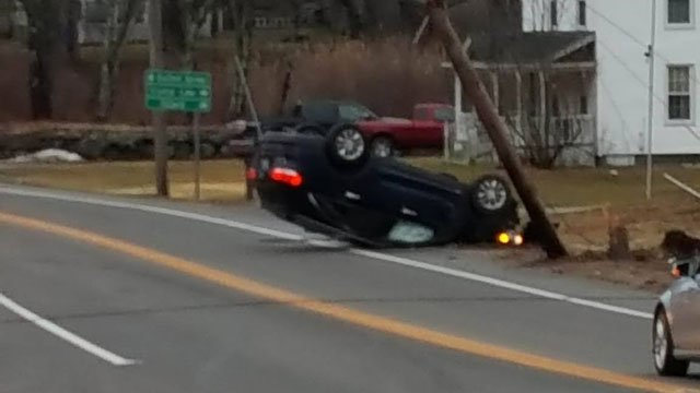 Route 190 in Stafford was closed on Wednesday evening after a motor vehicle crashed into a utility pole. (Jennifer Rios)
