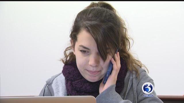 Quinnipiac University students call senators to urge them to stop repeal of Affordable Care Act.