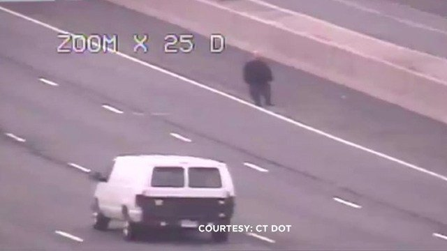 A man was spotted walking on the right shoulder of I-84 east in Plainville. (DOT photo)