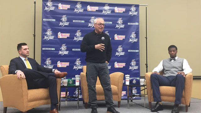 The new manager of the Hartford Yard Goats talks with members of the media on Thursday. (WFSB)