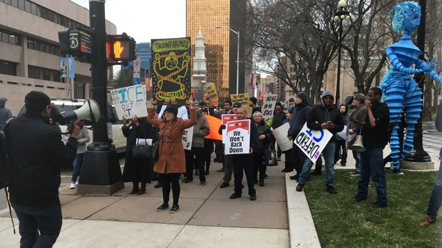 There were about 40-50 people outside Hartford City Hall. (WFSB)