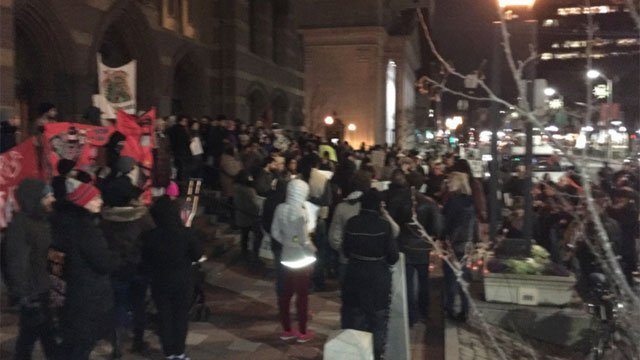 New Haven police closed down part of Church Street for rally where anti-Trump supporters will march through downtown. (WFSB)