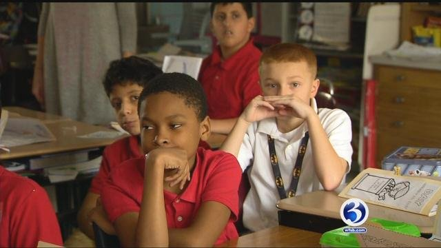 Students in one fourth grade class at Jefferson Elementary School watched the inauguration. (WFSB)