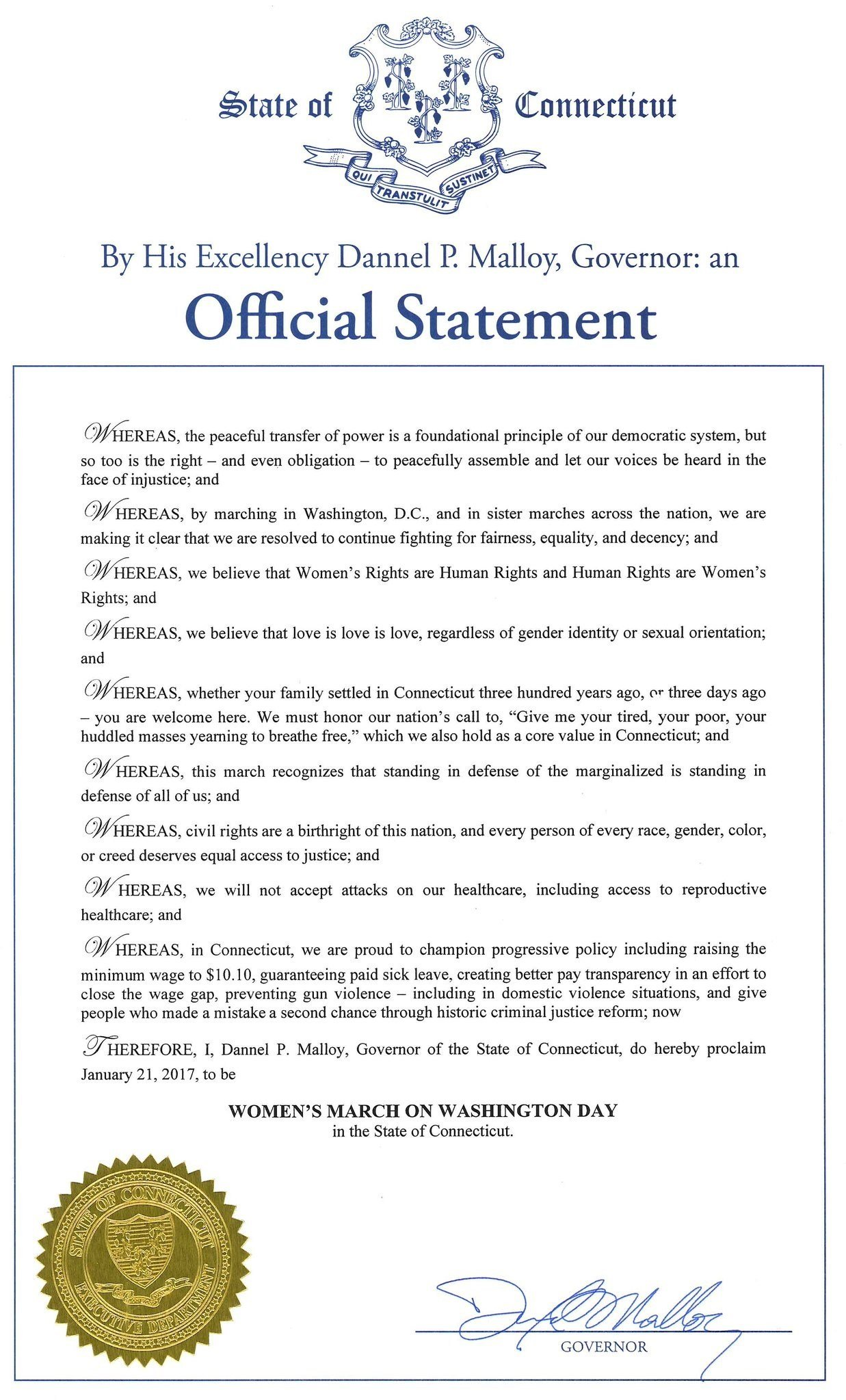 Full proclamation made by Governor Dannel Malloy for Women's March on Washington Day.  (WFSB)