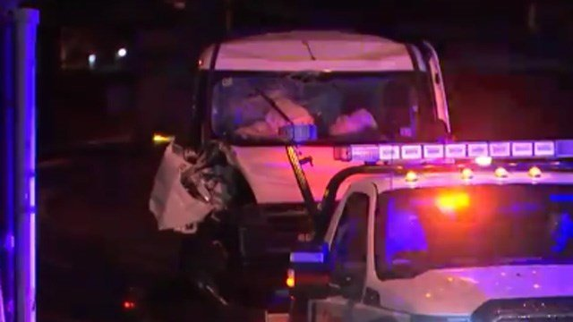 A van struck a pole on Route 4 in Farmington early Monday morning, according to police. (WFSB photo)