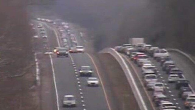 I-95 north was closed by exit 71 in Old Lyme on Sunday because of a deadly crash. (DOT photo)