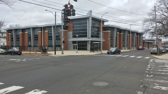 A gun was found on the property on the Roberto Clemente Leadership Academy on Monday. (WFSB)