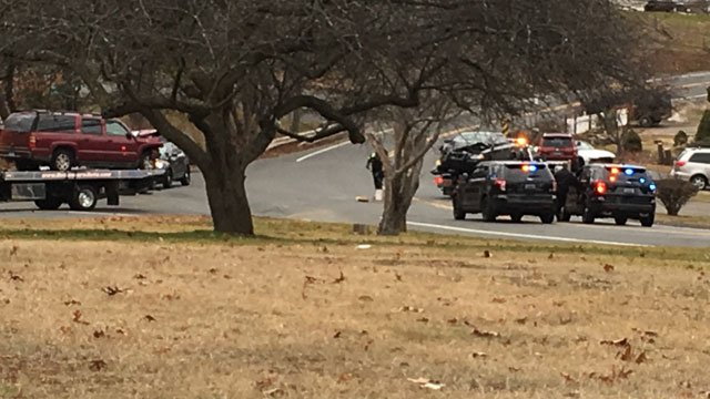 A police officer was injured after a crash near the West Main Street and Platt Avenue intersection in West Haven on Monday. (WFSB)