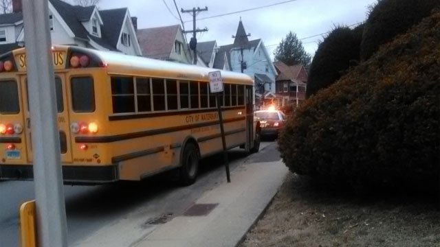 A school bus carrying Waterbury students was involved in crash on Monday. (Jesse Spangenberg)