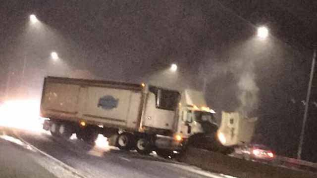 A tractor trailer crash has closed part of Route 8 in Naugatuck.  (Jill Smolley- Triscritti)
