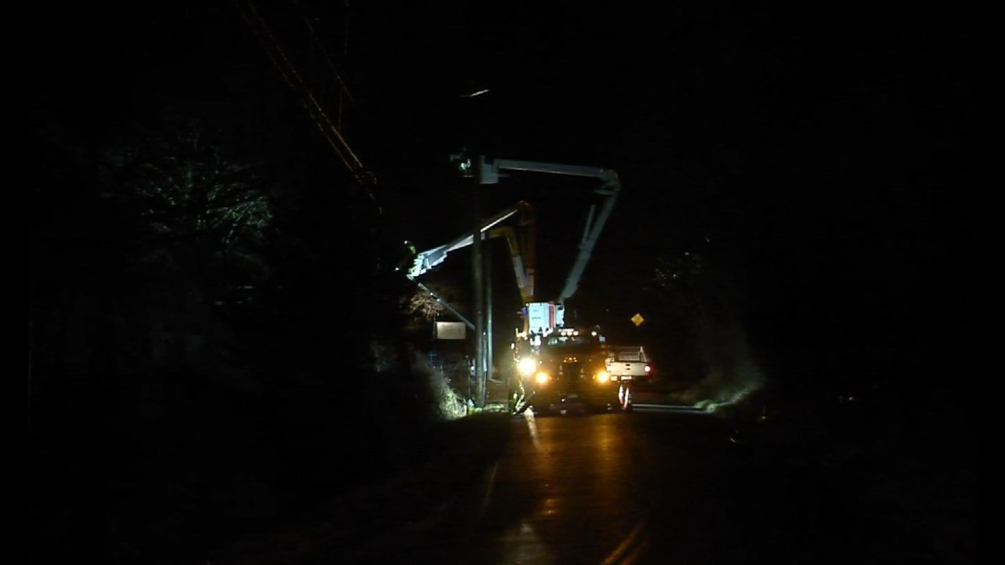 A tree took out three utility poles on Ingham Hill Road in Old Saybrook overnight. (WFSB photo)