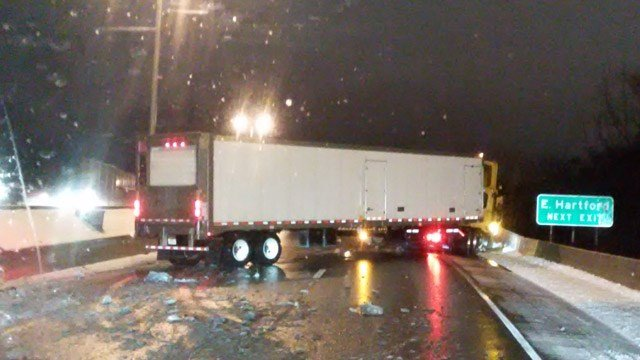 A jackknifted tractor trailer shut down Route 15 south in East Hartford. (Shawn/iWItness photo)
