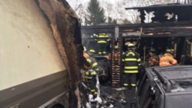 A  garage theNiantic section of East Lyme was damaged by a fire on Tuesday morning. (WFSB)