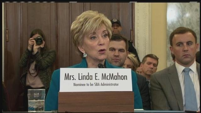 Linda McMahon attended her SBA confirmation hearing in Washington on Tuesday. (CNN photo)