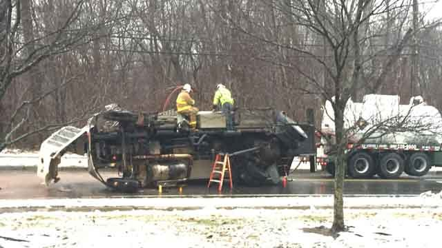 A home heating oil delivery truck rolled over in Manchester on Tuesday (WFSB)