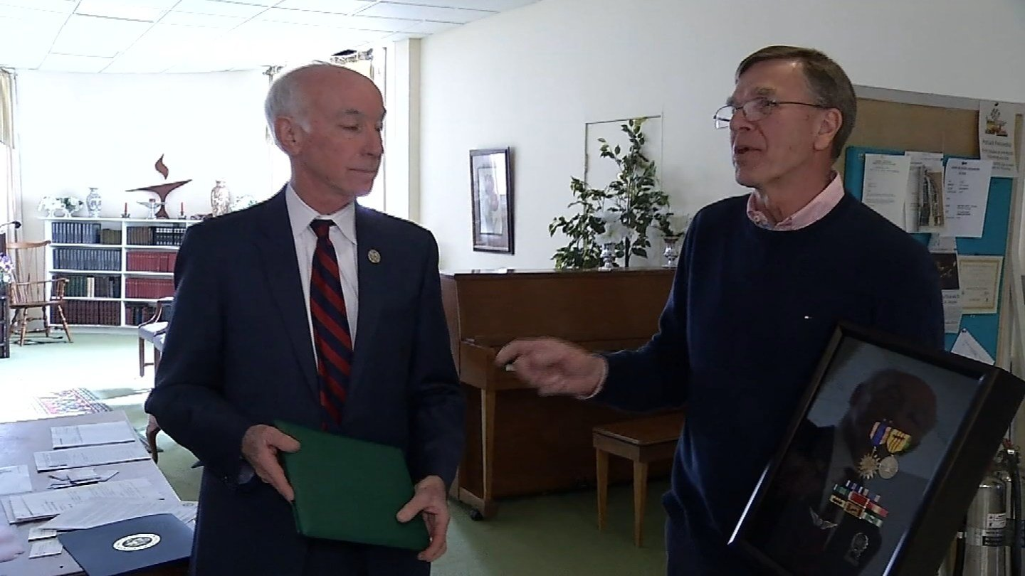 Rep. Joe Courtney and Chief Warrant Officer Kjell Tollefson of Clinton. (WFSB photo)