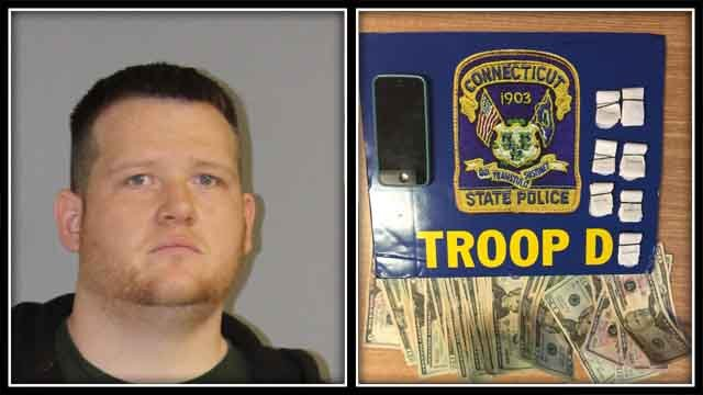 Ryan Ploof was found with 70 bags of heroin (CT State Police)