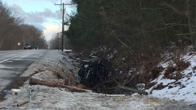 A woman was sent to the hospital on Thursday after a crash in Torrington (WFSB)