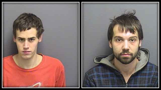 Police say these two men were caught stealing copper piping from Coventry home (Coventry Police)