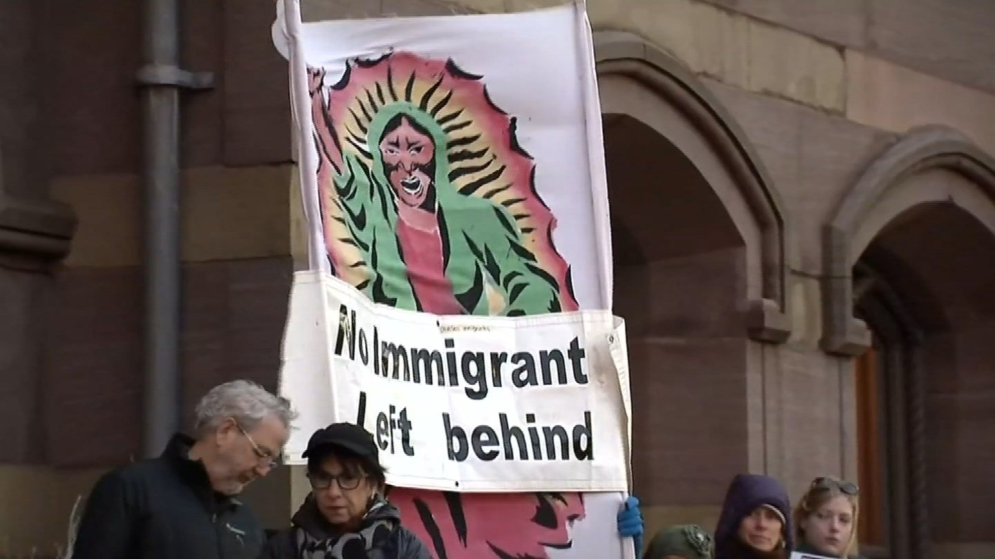 People rallied for illegal immigrant rights in Hartford and New Haven on Thursday. (WFSB photo)
