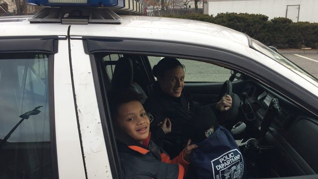 Cayden Drost was rewarded for his perfect school attendance. (West Haven police photo)