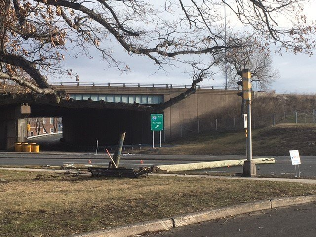 Path of destruction left by a drunk driver in East Hartford. (WFSB photo)