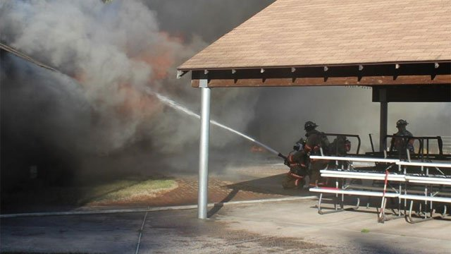 Firefighers battled a fire at   Pine Acres Swim and Tennis Club on Sunday. (Wethersfield Volunteer Fire Department Facebook page)