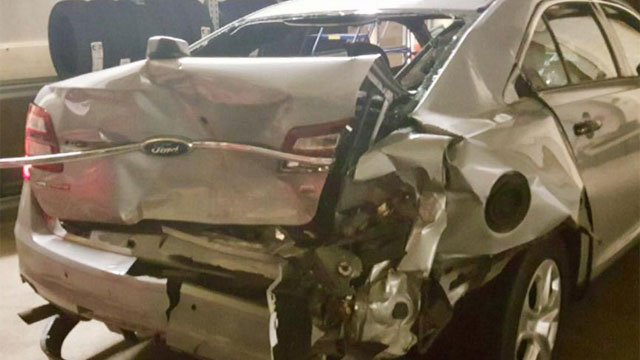 The car damaged in the crash on I-91 on Sunday morning. (CT State Police)