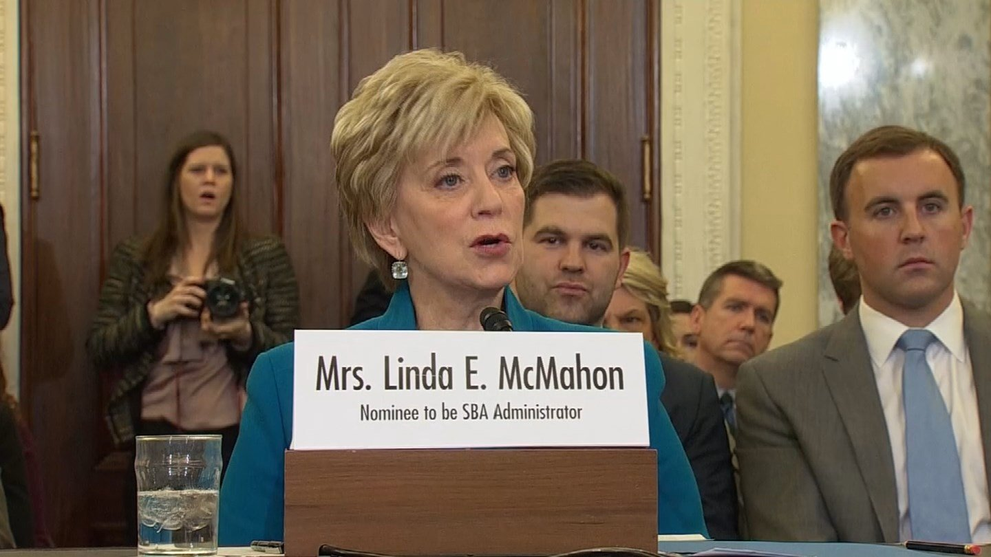 Linda McMahon answered questions at a hearing last week. (CNN photo)
