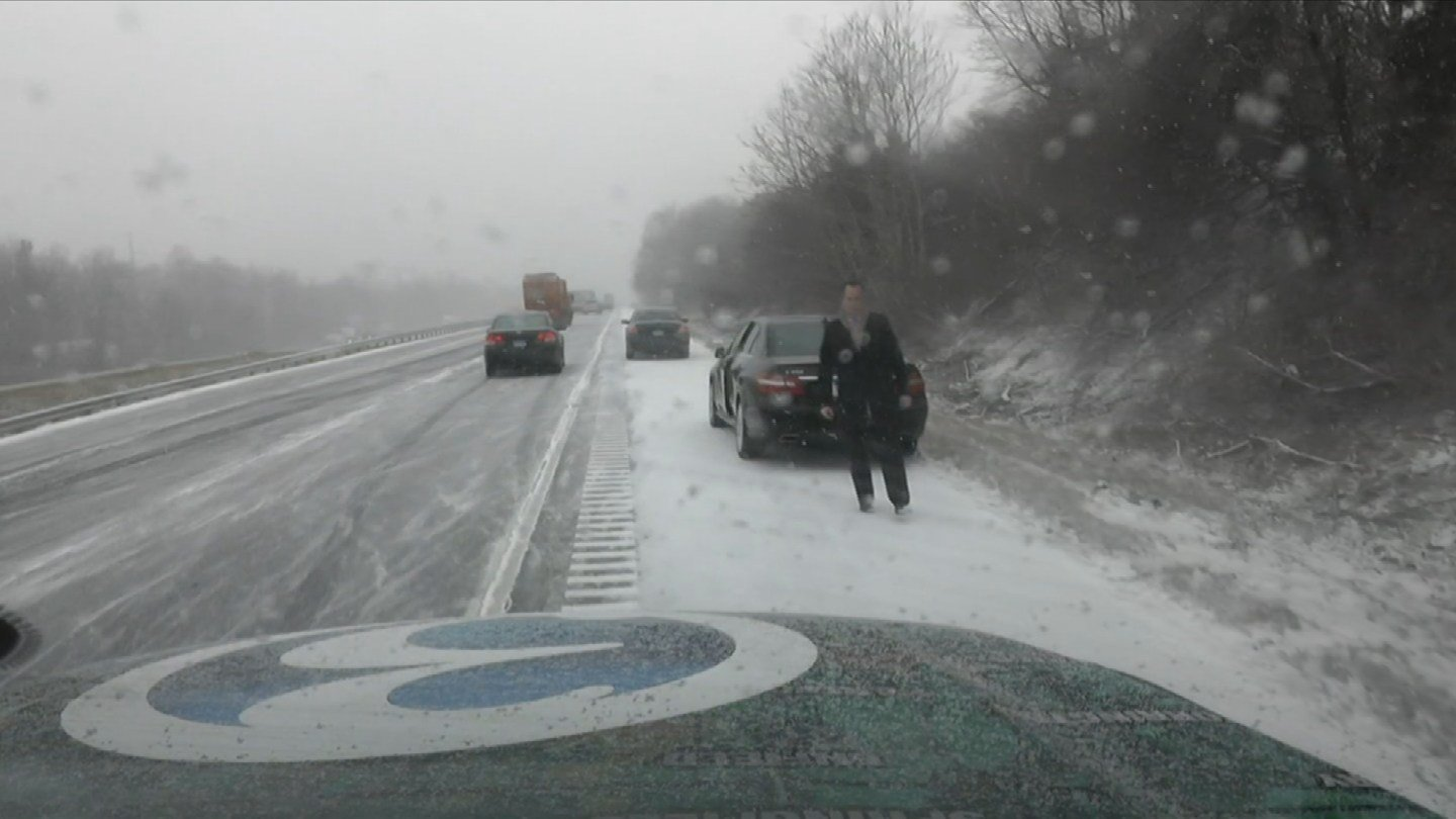 Slick road conditions were reported on I-91 south in Meriden. (WFSB photo)