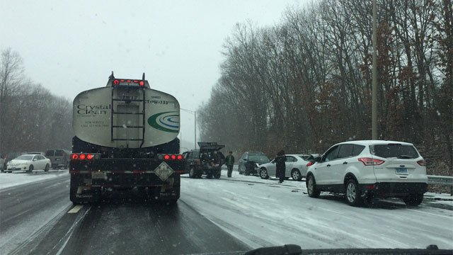 Crashes were reported throughout the state on Tuesday, like this one on I-91 near Route 9 around 1:30 p.m. (WFSB)