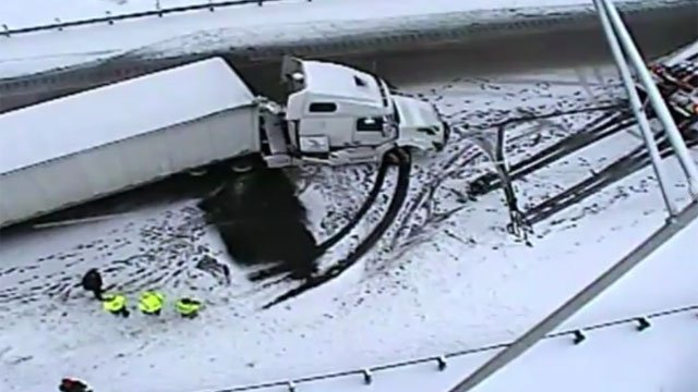 Crews worked to remove a jack-knifed tractor-trailer on I-84 eastbound between exits 28 and 30. (CT DOT)
