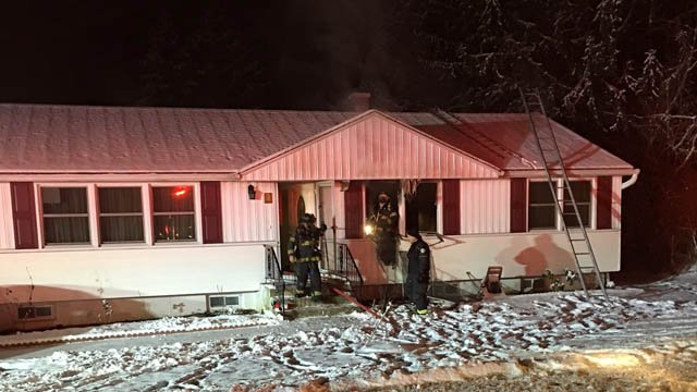 A house fire on Hartford Turnpike was put out by Hamden firefighters on Wednesday morning. (Hamden Fire Dept. photo)