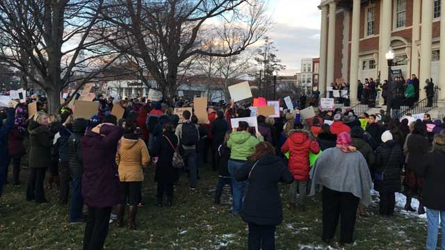 Hundreds of people are rallying in West Hartford Wednesday night (WFSB)