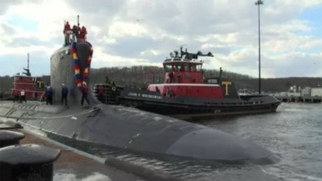 Crew of U.S.S. California returned home on Wednesday as the submarine docked in Groton. (WFSB)