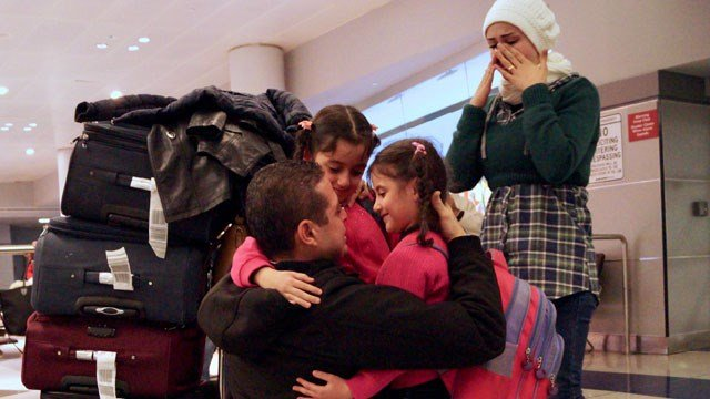 A man from Milford was reunited with his wife and two girls from Syria on Thursday night. (Swersey/HIAS)