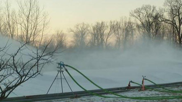 Snow making is under way at Eversource's Windsor location for the Special Olympics. (WFSB photo)