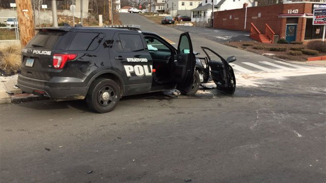 Barnum Avenue was closed after a crash involving a police cruiser on Friday. (@StratfordPDCT)