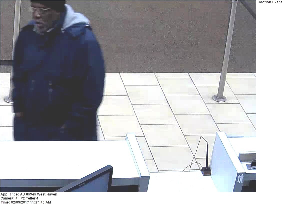 Police released this photo of a bank robbery suspect. (West Haven Police Department)