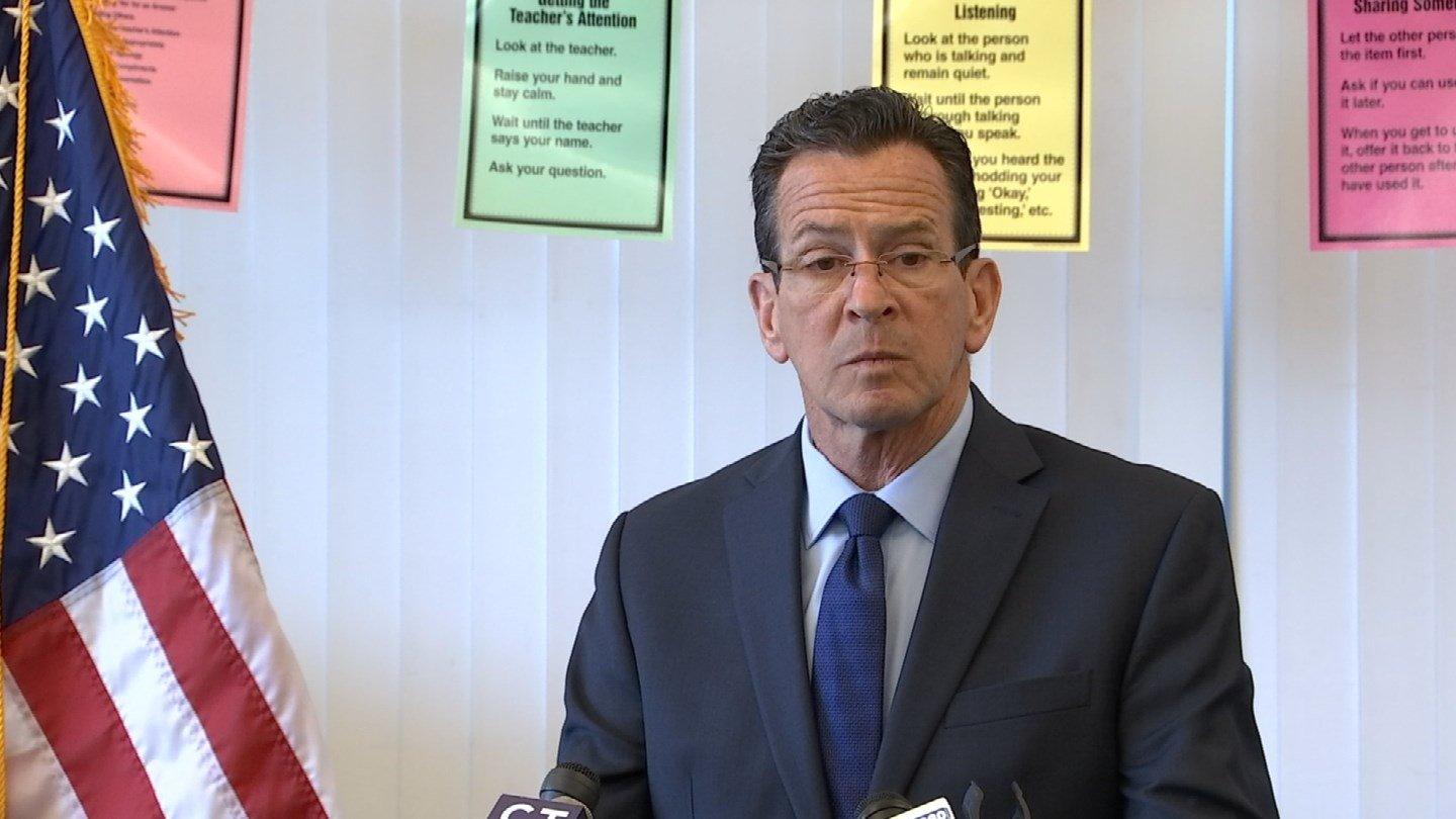 Gov. Dannel Malloy unveiled a new facet of his budget proposal at the Smalley Academy in New Britain on Monday. (WFSB photo)