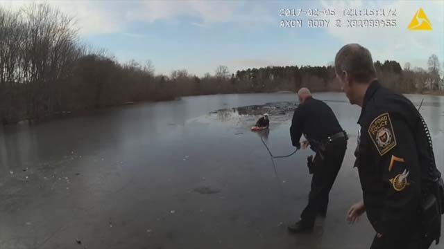 Video showed the dramatic ice rescue in Milford on Sunday (submitted video)