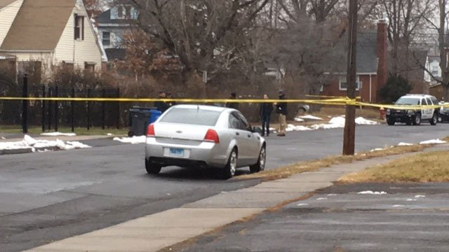 Part of Beckett Street in Hartford was taped off for a police investigation on Tuesday. (WFSB)