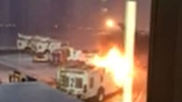 A  de-icer truck fire caught on fire at Bradley International Airport on Thursday morning. (Donna Dubinsky )