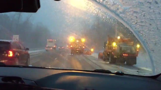Road conditions deteriorated on Thursday morning on I-84 in Farmington. (WFSB photo)
