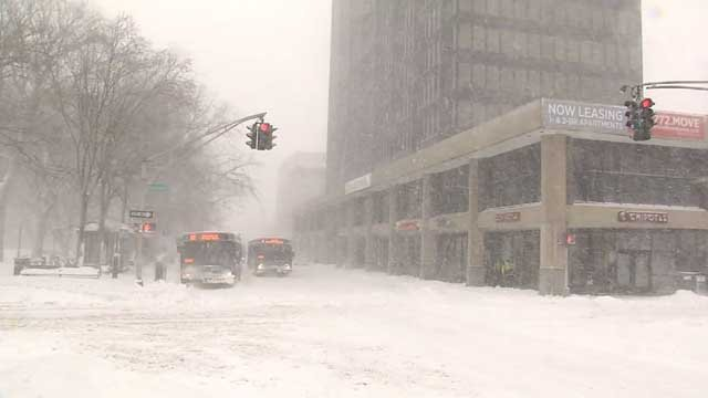 Blizzard Chris dumped snow across the state, including New Haven on Thursday (WFSB)