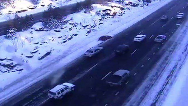 One of the many spin outs reported on I-84. This one was in Southington. (DOT photo)