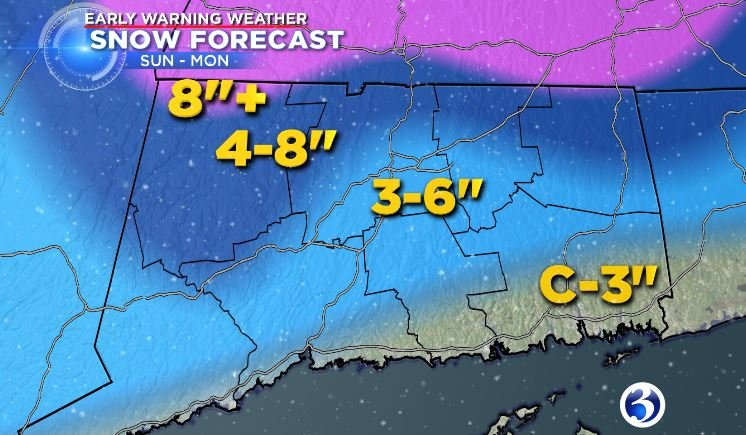 Winter Storm Diana will arrive Sunday evening and last through Monday morning. (WFSB)