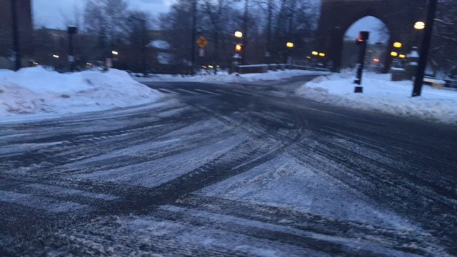 Slushy roads were still an issue in Hartford on Monday morning. (WFSB photo)