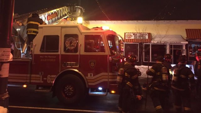 Fire broke out at a business on Park Street in Hartford Wednesday morning. (WFSB photo)